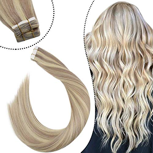 Ugeat Highlight Aschblond mit Bleichblond Echthaar Tape on Extensions 55 cm Remy 100% Echte Haare Seamless Skin Weft Tressen Tabs 2.5GR 20PCS Glue in Secret Haarverlangerung