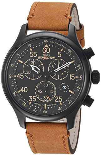 Timex Men's TW4B12300 Expedition Field Chronograph Tan/Black Leather Strap Watch