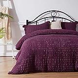 NexHome Duvet Cover Set King Size Purple Seersucker 100% Washed Microfiber Zipper Closure & Corner Ties