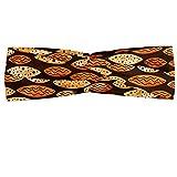 abakuhaus astratto fascia per capelli, spots waves ellittico, elastico e morbido per lo sport e l'uso quotidiano per donna, arancione marrone