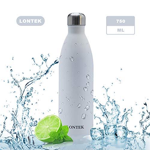 lontek Edelstahl Trinkflasche 750ml BPA Frei Wasserflasche Auslaufsiche Thermosflasche Vakuum Isolierte Hält 24 Stunden Kält und 20 Stunden Warm für Büro, Schule, Outdoor, Sport