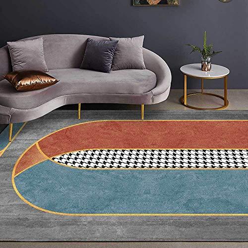 Alfombras Moderna Diseño Antideslizante Arcos geométricos Cemento Gris Naranja Puntada Antideslizante fácil de Limpiar Tapete para Dormitorio,Comedor,Habita 140×200CM (4ft7 x 6ft6)