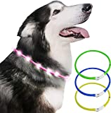 Just Pet Zone Dog Collar light for the dark,Silicone Collar Flashing Led Light
