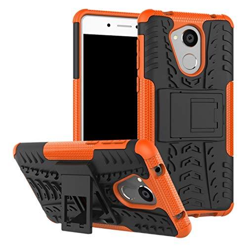 Ycloud Rüstung Hülle für Honor 6C / Huawei Nova Smart Smartphone, Dual Layer Hybrid 2-in-1 Armor Handyhülle mit Ständer stoßdämpfend Rückseite Hülle (Schwarz+Orange)