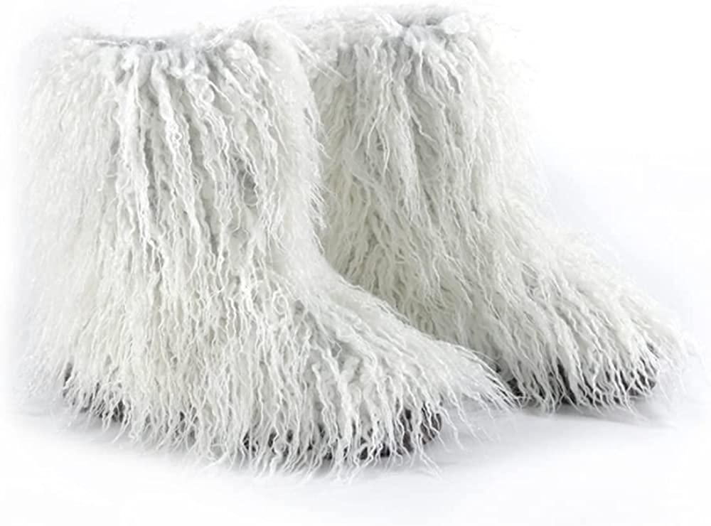 DAYISS Faux Fur Boots for Women Furry Fluffy Winter Snow Boot Shoes Outdoor