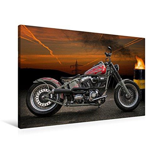 Premium Textil-Leinwand 90 x 60 cm Quer-Format Harley-Davidson Fat Boy Softail Bobber   Wandbild, HD-Bild auf Keilrahmen, Fertigbild auf hochwertigem Vlies, Leinwanddruck von N N