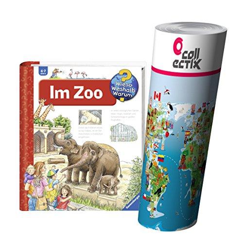 Ravensburger enfants sachbuch Pourquoi ? Pourquoi ? Pourquoi ? | dans le zoo + enfants animaux Carte du monde Poster by collectix