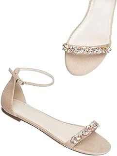 David's Bridal Faux-Suede Gem Strap Flat Sandals Style Halston
