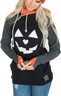 Malbaba Womens Halloween Pumpkin Face Long Sleeve Slouchy Sweatshirts Pullover