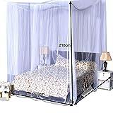 COSTWAY Moskitonetz für Doppelbett, Mückennetz aus Polyester, Bett Fliegennetz, Betthimmel inkl. Haken, Bettdekoration 220 x 200 x 210 cm(Weiß) - 6