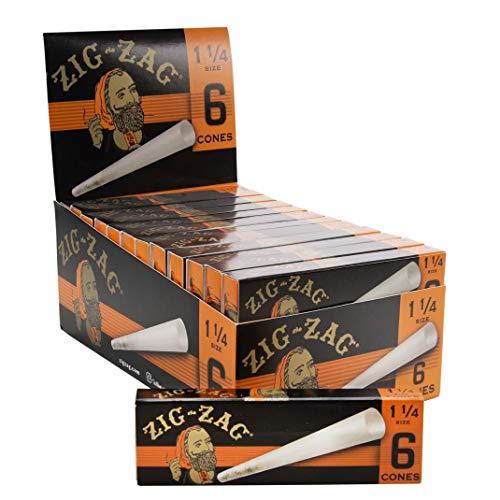 Zig-Zag Ultra Thin Pre Rolled Paper Cones 1 1/4 Size (24 6 Packs per Carton) 144 Cones