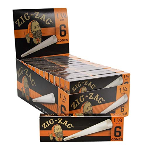 Zig-Zag Ultra Thin Pre Rolled Paper Cones 1 1/4 Size (24 6 Packs per Carton) 144 Cones