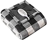 Codi Soft Heated Throw Blanket Plaid Black   50x60   Lightweight Electric Throws for Couch   3 Heat Setting with Auto Shut Off, 6ft Power Cord,   Washable