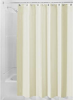 iDesign Fabric Shower Curtain, Bath Curtain for Master Bathroom, Kid's Bathroom, Guest Bathroom, 72 x 72 Inches, Tan