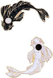 Angoter 2pcs Pesce Lapel Pins Pesce Carpa di Cristallo Ocean Animal Spilla Spilla Colore Bianco Nero