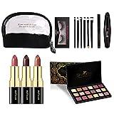 Hangarone Set de Maquillaje, lápiz Labial, Sombra de Ojos, máscara de Maquillaje, Pincel de Cejas, Juego Completo de Maquillaje de Belleza con Bolsa de cosméticos