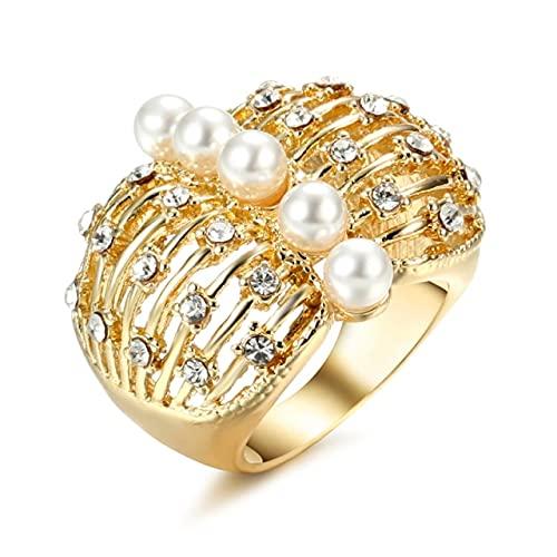 Tiny Anillo de Mariposa Grande de Perlas Calientes para Mujer, Anillo de Dedo geométrico de cóctel de Color Dorado a la Moda, joyería de Fiesta