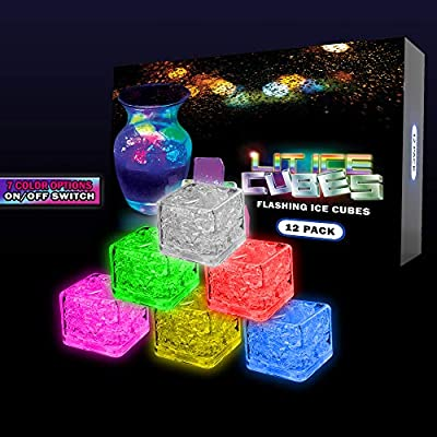 Lit Ice Cubes (12 Pack) Premium LED Light Up Ice Cubes With 7 Color Changing Lights and On and Off Switch