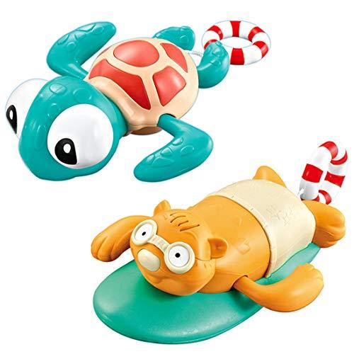 Miotlsy Juguete para Baño, 2 Piezas Juguete de la Piscina de la bañera, Tortuga mecánica Niños Juguete de Baño, Mejor Juguete Nadar Tortuga de Piscina Juguetes de Agua