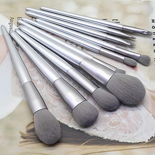 CLZC Pinceaux de maquillage Ensembles 10 Pcs Silvery Foundation Soft Cosmetic Fard à Paupières Sourcils Eyeliner,argent