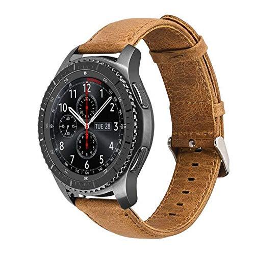 Pulseira de Couro para Samsung Galaxy Watch 46mm - Gear S3 Frontier - Gear S3 Classic - Marca Ltimports (Marrom)