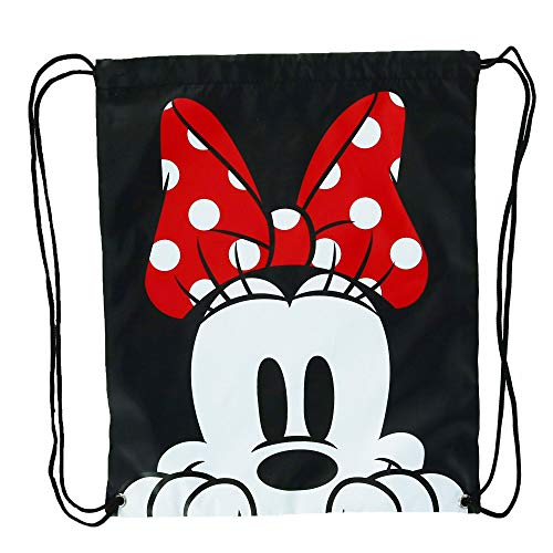 Disney Minnie Mouse Face Drawstring Tote Backpack, Black, One Size