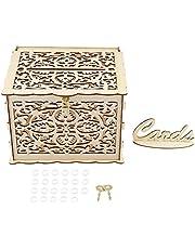 Mumusuki Caja de Tarjeta de Boda con Llaves Caja de Regalo de Dinero DIY Caja de decoración de Tarjeta de Visita de Madera para Fiesta de cumpleaños