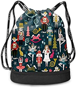 Bolsas de Gimnasia, Nutcracker Ballet by Andrea Lauren Drawstring Bags Pumping Rope Backpack Pack Travel Sport Gym Sack Bag for Men/Women and Kids Bundle Backpack