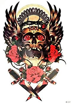 PARITA Big Tattoos Goddess Skull King Angel Wings Cartoon Tattoo Fake Stickers Waterproof Design Body Leg Arm Shoulder Chest Bottom & Back for Man Guys Women  1 Sheet   10