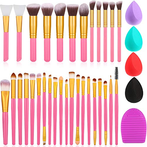 30 Pieces Makeup Brush Set Mini Makeup Brushes, 2 Pieces Silicone Face Mask Brush, 4 Pieces Makeup Sponge, Brush Cleaner, Cosmetics Synthetic Foundation Powder Blush Eye Shadows Brushes (Pink)