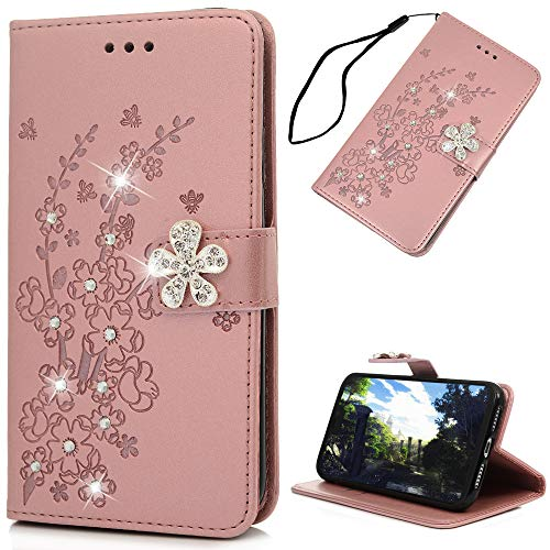Mavis's Diary iPhone Xr Case, iPhone Xr Wallet Cover, Embossed Plum Flowers Wallet 3D Handmade Bling Crystal Diamond PU Leather Shockproof Protective Cover for iPhone Xr 6.1inch(Pink)