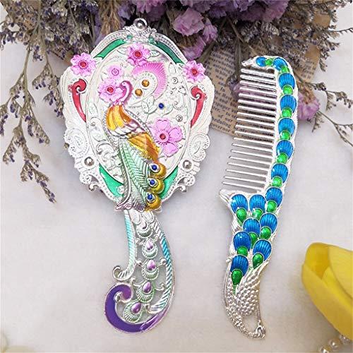Mesdames Vintage Mini Voyage Maquillage Miroir Peigne Ensemble Mesdames Main Chinois Paon Sculptant Strass Miroir À Main Facile à Porter Des Cadeaux Créatifs