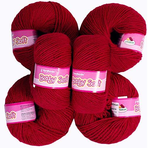 vardhman Yarn Baby Soft Wool for Hand Knitting Fingering Crochet Hook 150gms Blood red Shade no.19