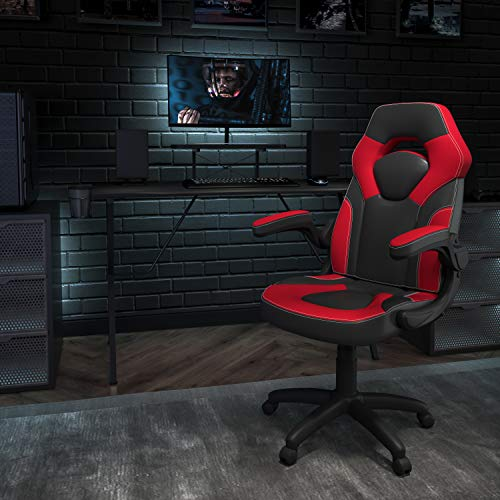 Flash Furniture Black Gaming Desk and Red/Black Racing Chair Set with Cup Holder, Headphone Hook, and Monitor/Smartphone Stand