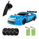 FancyWhoop GT Drift Car High Speed Drift Car RC Sport Racing Vehicle 1/16 RC Car para Adultos Regalos para nios, vehculo 4WD RTR con luz LED, Dos bateras y neumticos Drift - Azul