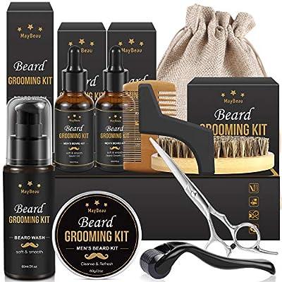 Beard Grooming Kit for Men MayBeau Beard Balm Kit 10 in 1 Beard Growth Kit Includes Beard Growth Oil Beard Roller Beard Brush Beard Shampoo Beard Scissor Beard Comb Storage Bag (10 IN 1)