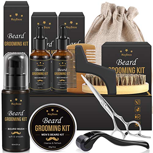 Beard Grooming Kit for Men MayBeau Beard Balm Kit 10 in 1 Beard Growth Kit Includes Beard Growth Oil Beard Roller Beard Brush Beard Shampoo Beard Scissor Beard Comb Storage Bag (10 IN 1)