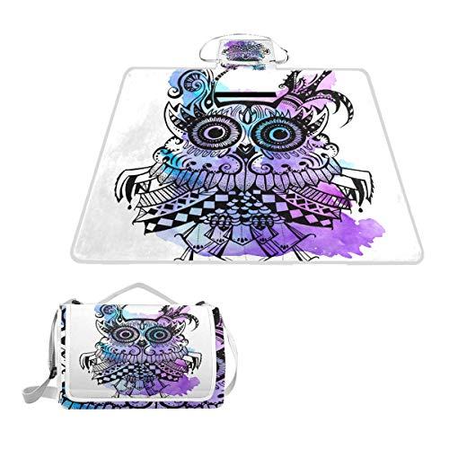 DragonSwordlinsu Coosun Picknickdecke mit Eulen-Motiv, lila, schimmelresistent und wasserdicht, für Picknicks, Strand, Wandern, Reisen, RVing und Ausflüge