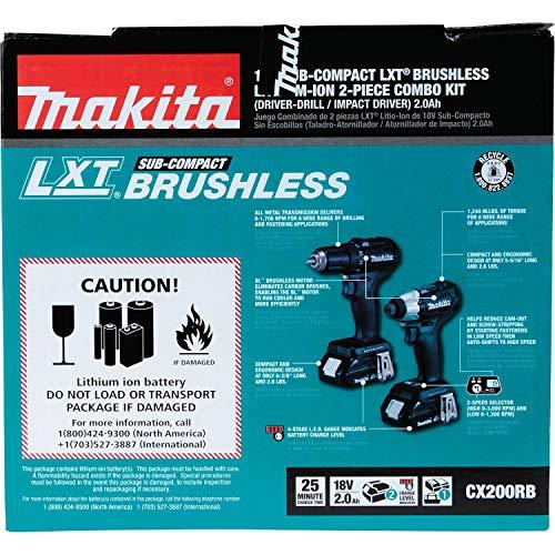 Makita CX200RB 18V LXT Lithium-Ion Sub-Compact Brushless Cordless 2-Pc. Combo Kit (2.0Ah), Black