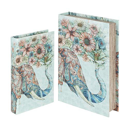 SIGRIS Signes Grimalt by Libros Decorativos | Caja Libro de Madera - Pack de 2, Diseño Elefante