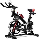 Wghz Bicicleta estática Profesional para Interiores, Bicicleta de Ciclo de transmisión silenciosa con Manillar y Asiento Ajustables, Volante Cromado, Monitor de 5 Funciones,