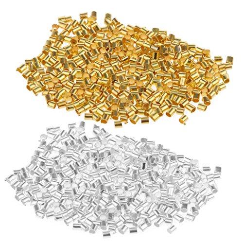 Sharplace 1200 Stück Silber Gold Quetschperlen Crimp Beads Quetschröhrchen zum Basteln