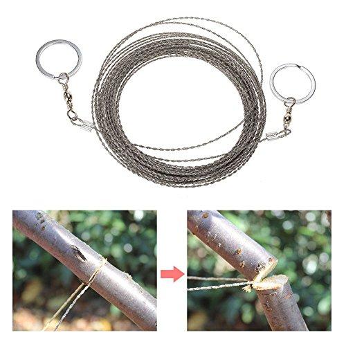 AoToZan 10 Meter Outdoor Drahtsäge mit Griffringen Seilsäge Sägedraht Kettensäge Taschen Säge für Survival Camping Garten