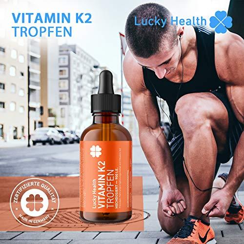 Lucky Health Vitamin K2 MK-7 200µg - 1.750 Tropfen - Apotheken-Qualität - Hochdosierte Nahrungsergänzung, 200 µg - in MCT-Öl aus Oliven, vegan, laborgeprüft