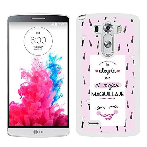 Funda carcasa para LG G3 frase La alegría es el mejor maquillaje borde blanco