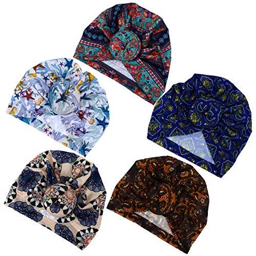 Beaupretty 5 pçs Touca de algodão para dormir à noite, touca ajustável para cabelo, touca despojada, proteção de cabelo, chapéu de noite