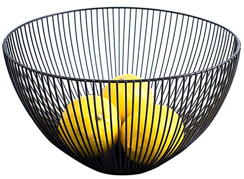 Yesland Metal Wire Fruit Basket - 9.75 x 5.75 x 3.75 Inches, Black Kitchen Countertop Fruit Bowl Vegetable Holder for Bread, Snacks, Households Items Storage for Kitchen/Livingroom