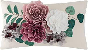 JWH 3D Flower Throw Pillow Cover Handmade Cushion Cover Decorative Pillowcase Home Bed Living Room Sofa Chair Decor Girl Gift Pink Mauve 12 x 20 Inch