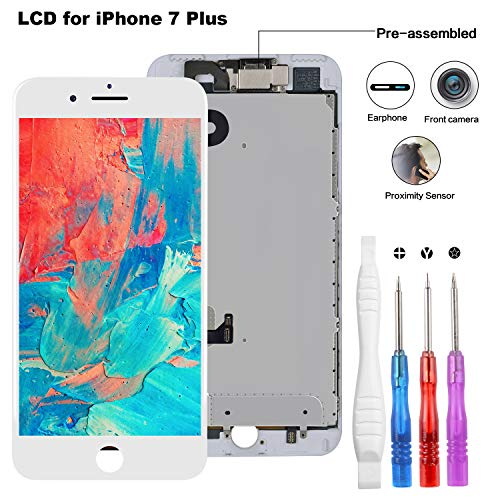 Screen Replacement Compatible for iPhone 7 Plus White 5.5 Inch, LCD Display 3D Touch Digitizer Full Assembly with Proximity Sensor + Front Facing Camera + Earpiece Speaker + Repair Tools Kit