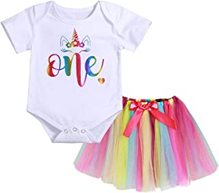 Newborn Infant Baby Girl One Unicorn Outfit My 1st Birthday Romper + Rainbow Tutu Skirt Summer Dress Clothes